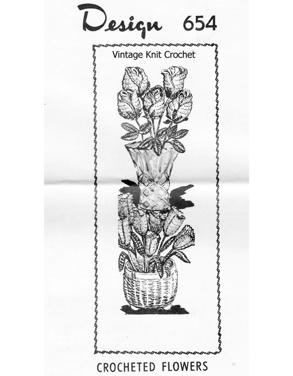 Crochet Long Stem Rose Pattern, Laura Wheeler 654