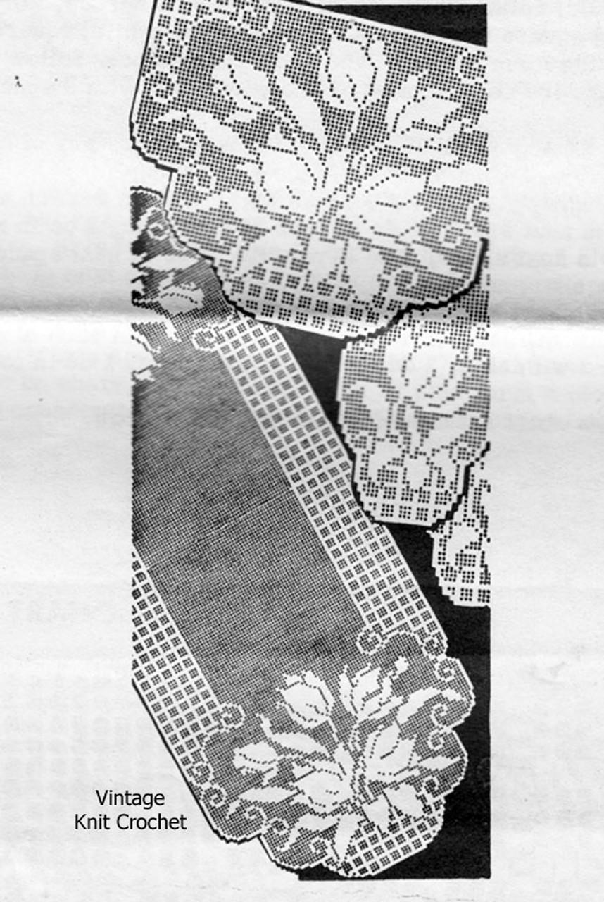 Vintage Filet Tulip Runner Scarf Pattern, Alice Brooks7498