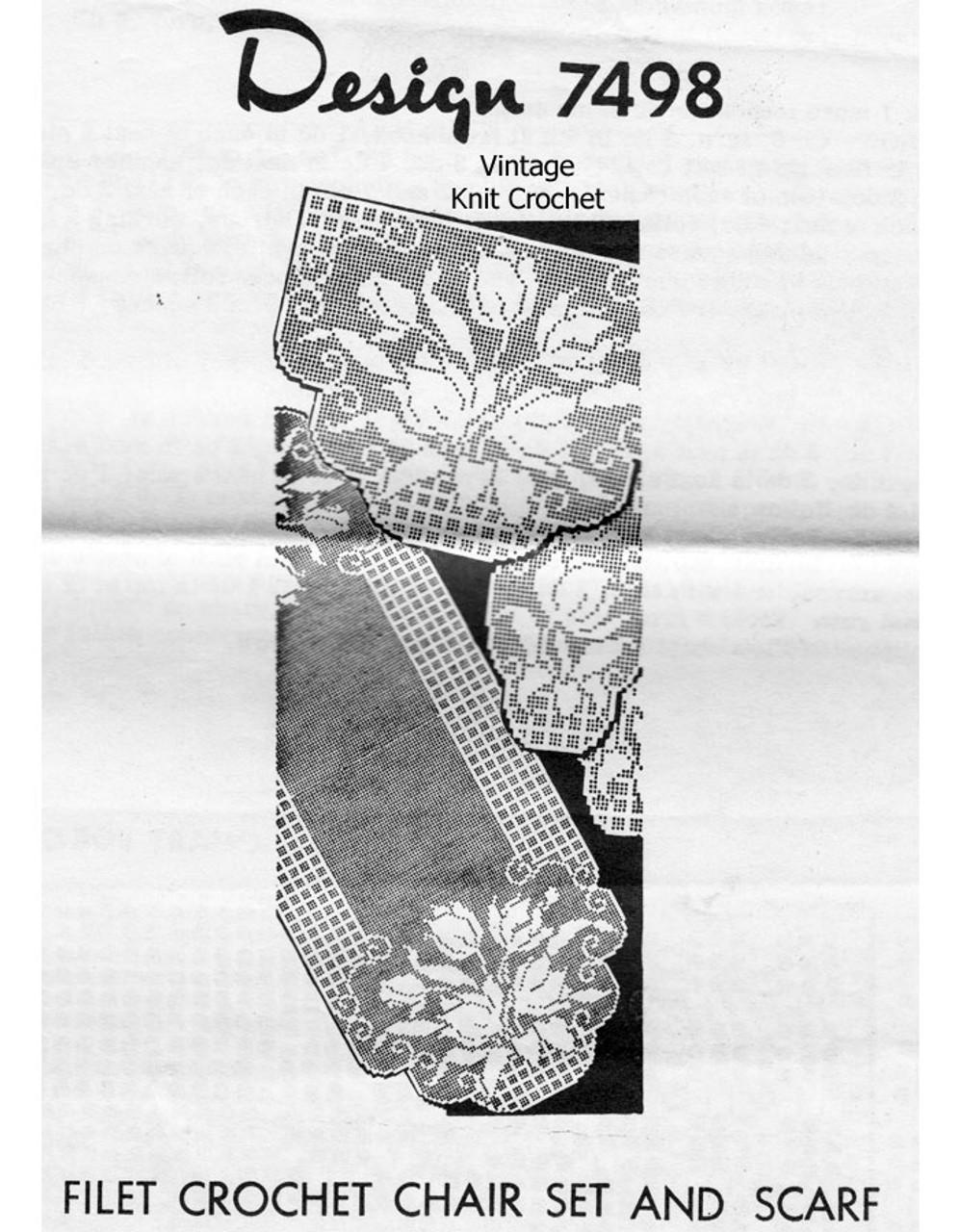 Tulip Filet Crochet Runner, Chair Set Pattern Design 7498
