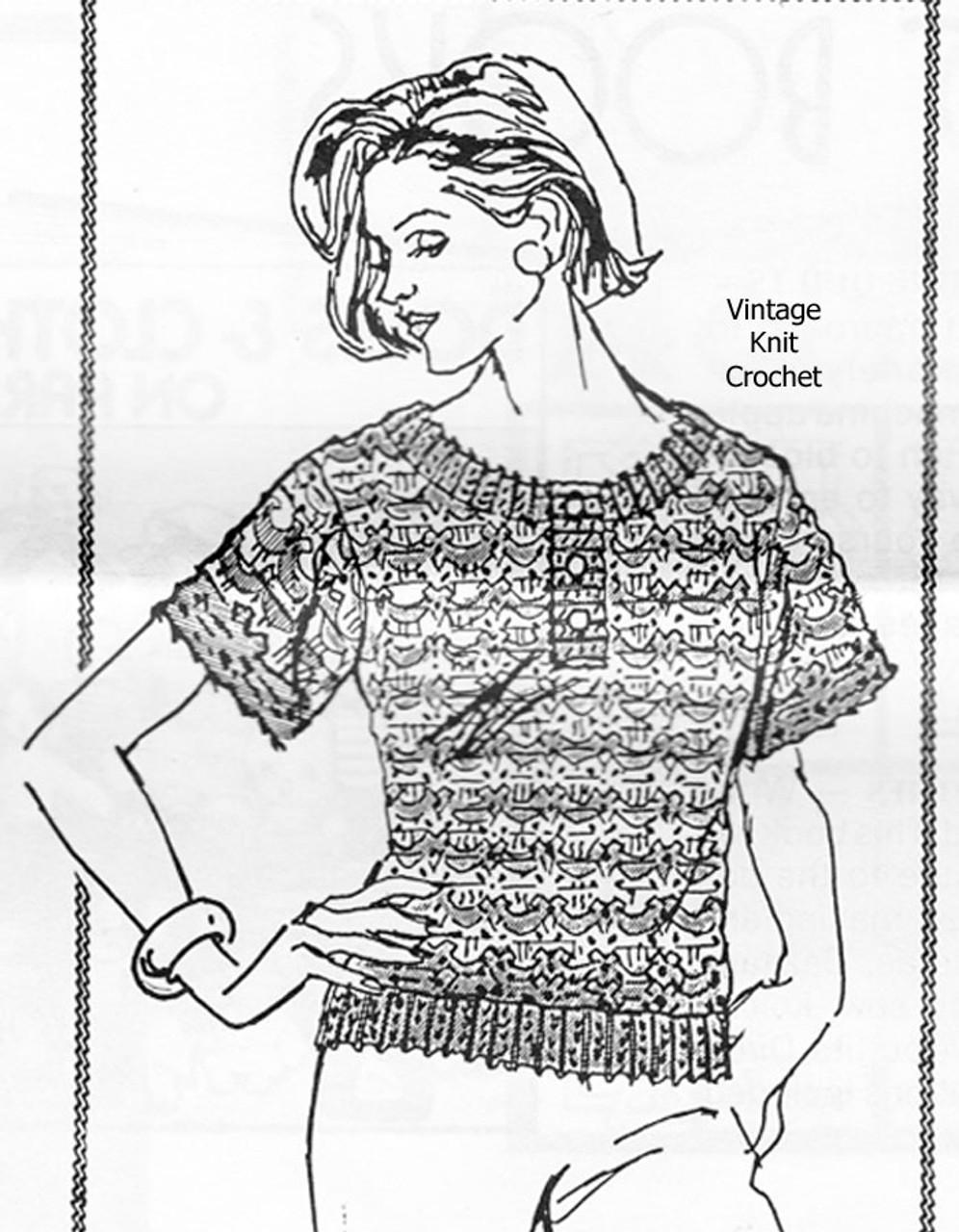 Short Sleeve Crochet Top Pattern, Design 783