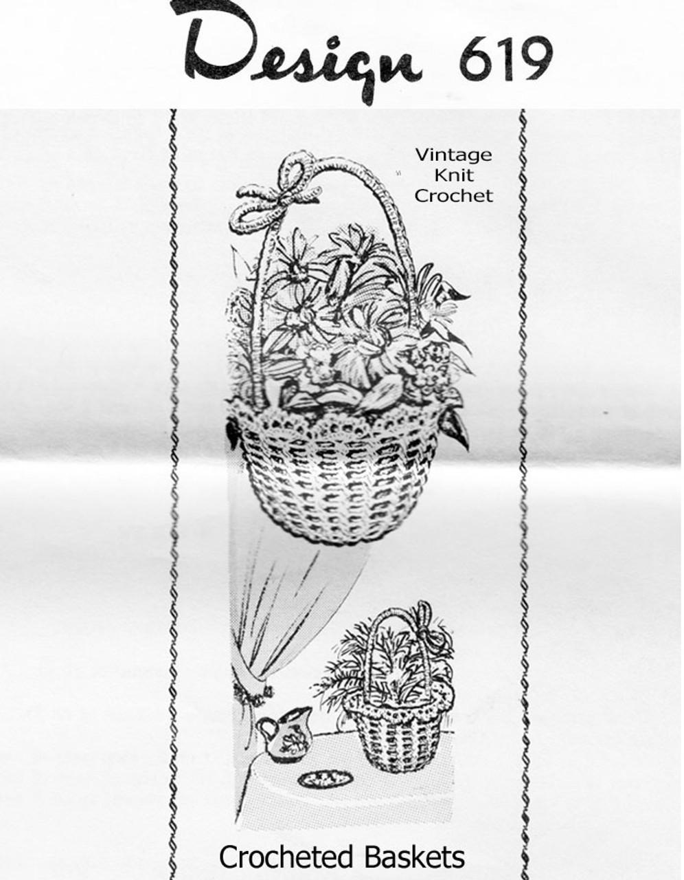 Crochet Flower Basket Pattern Design 619
