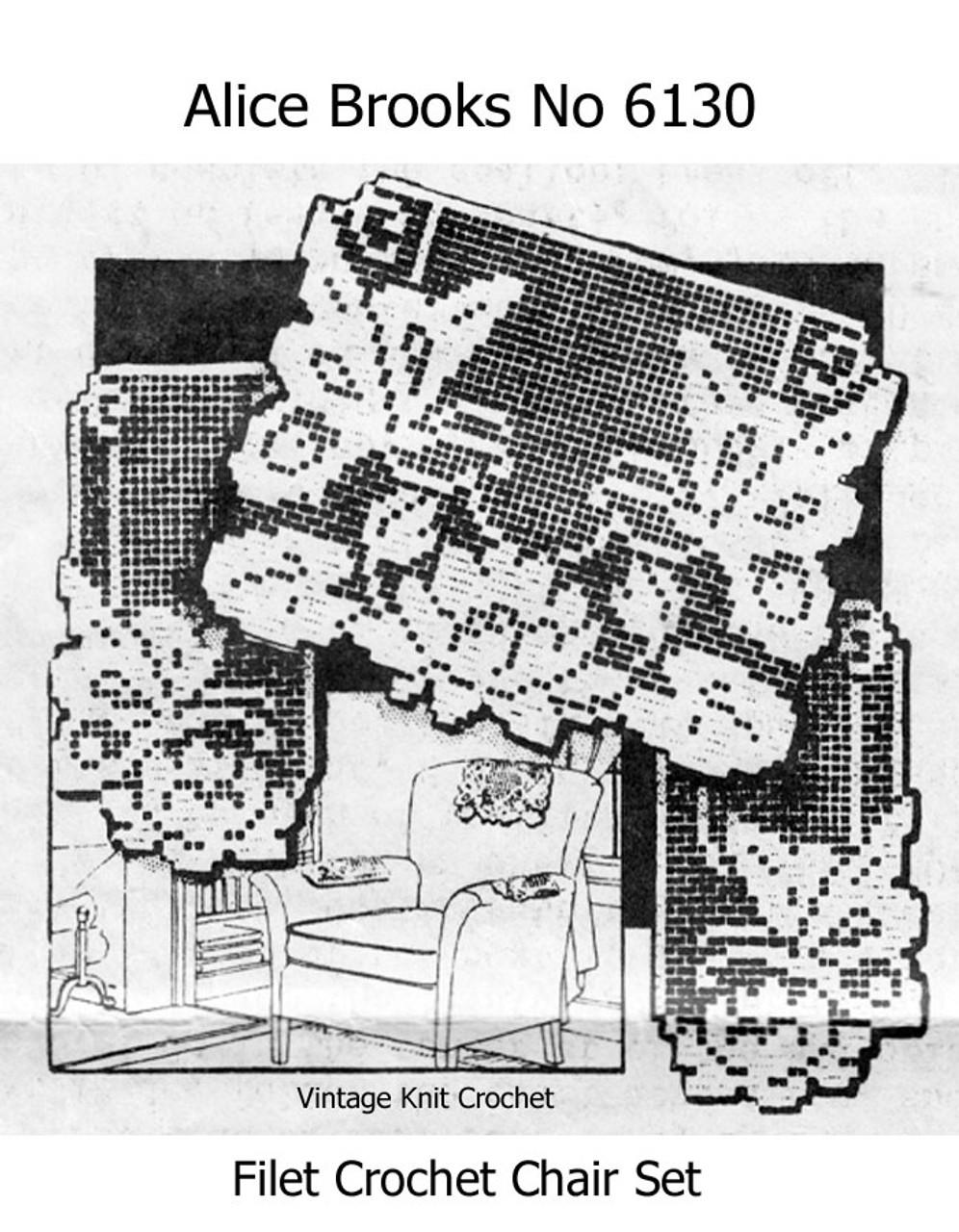Butterfly Filet Crochet Chair Doily Pattern Set No 6130