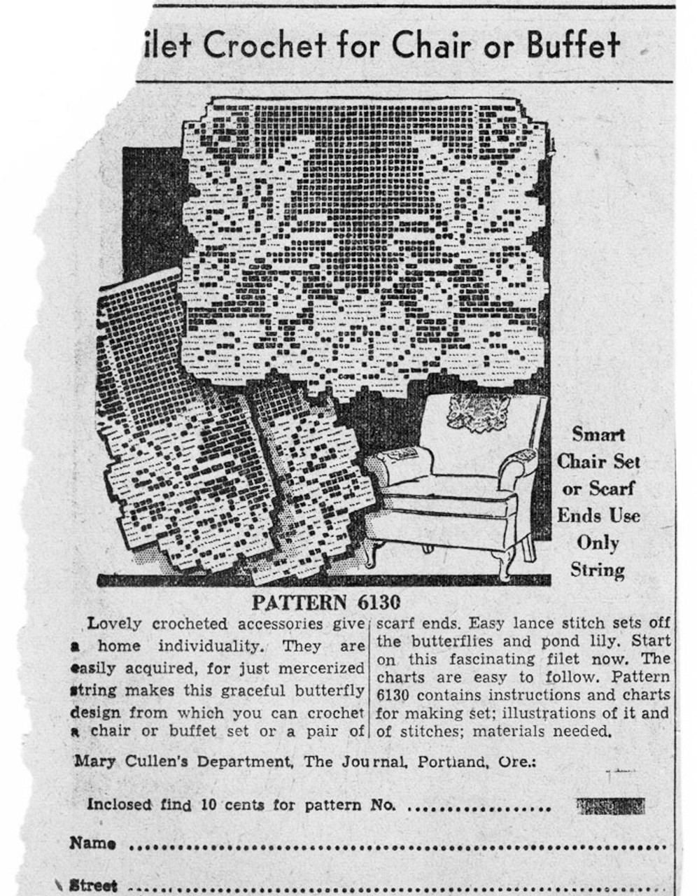 Filet Butterfly Chair Set, Alice Brooks 6130