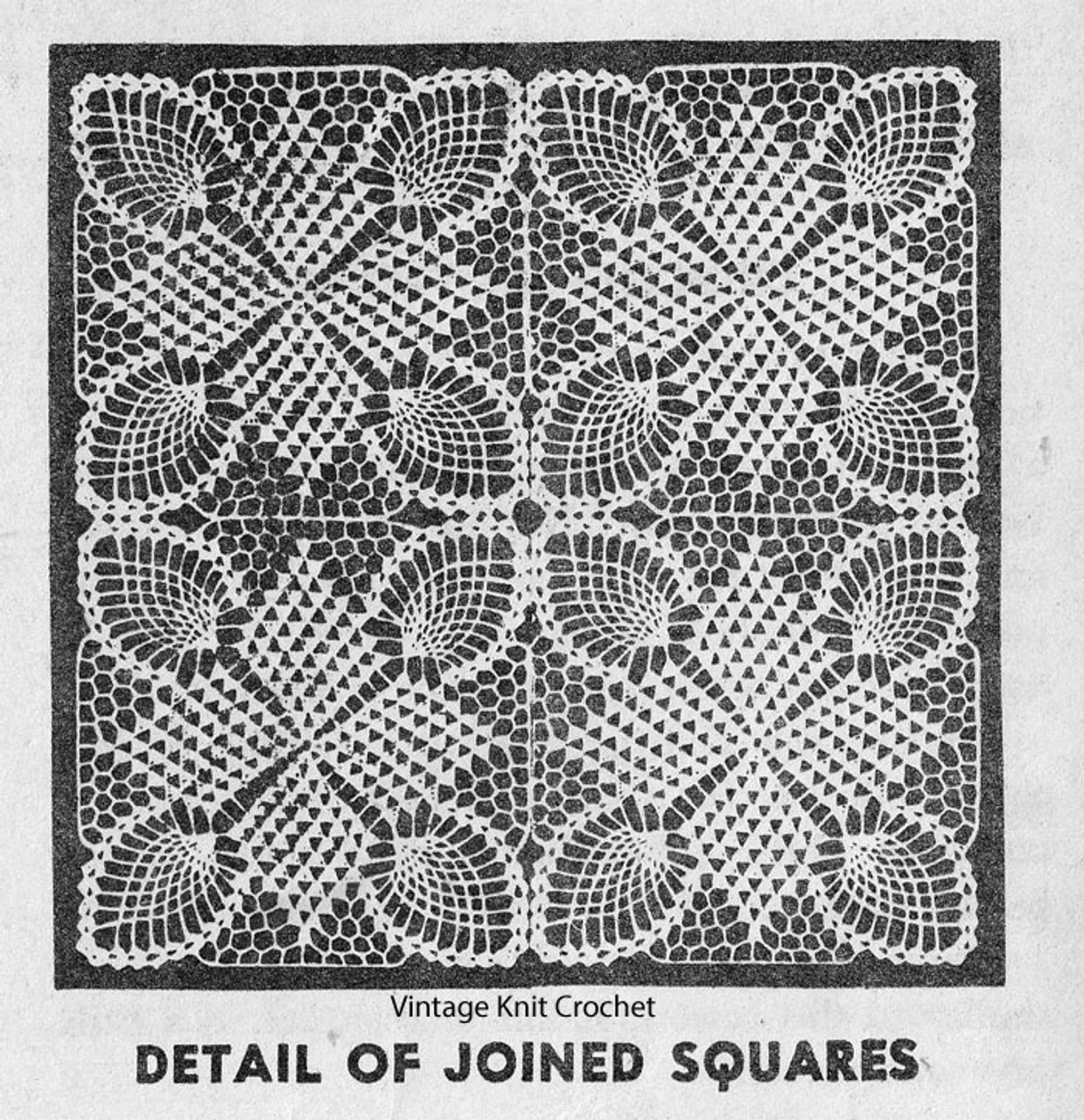Crochet Star Tablecloth Square Pattern, American Weekly 3144