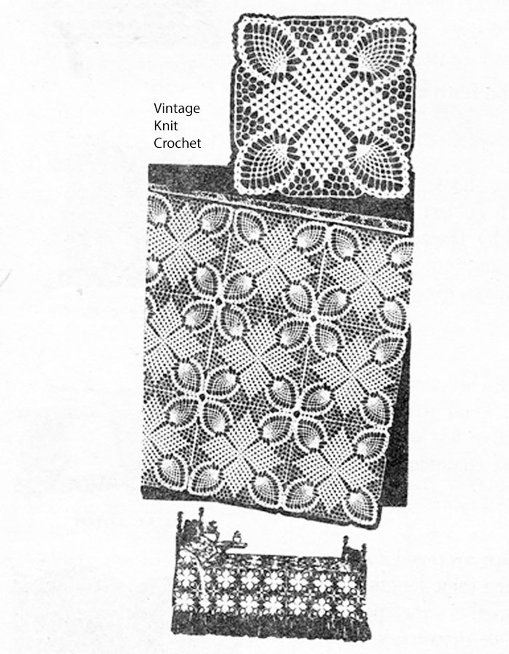 Crochet Tablecloth Pattern, Star Squares, Mail Order Design 3144