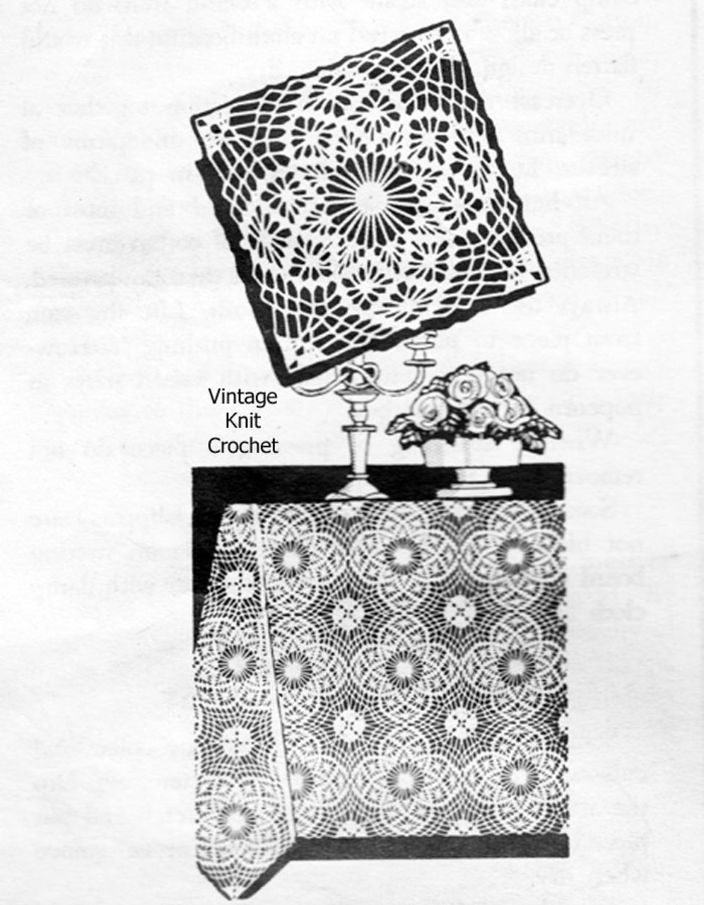 Vintage Crochet Tablecloth Square Pattern, American Weekly 3137