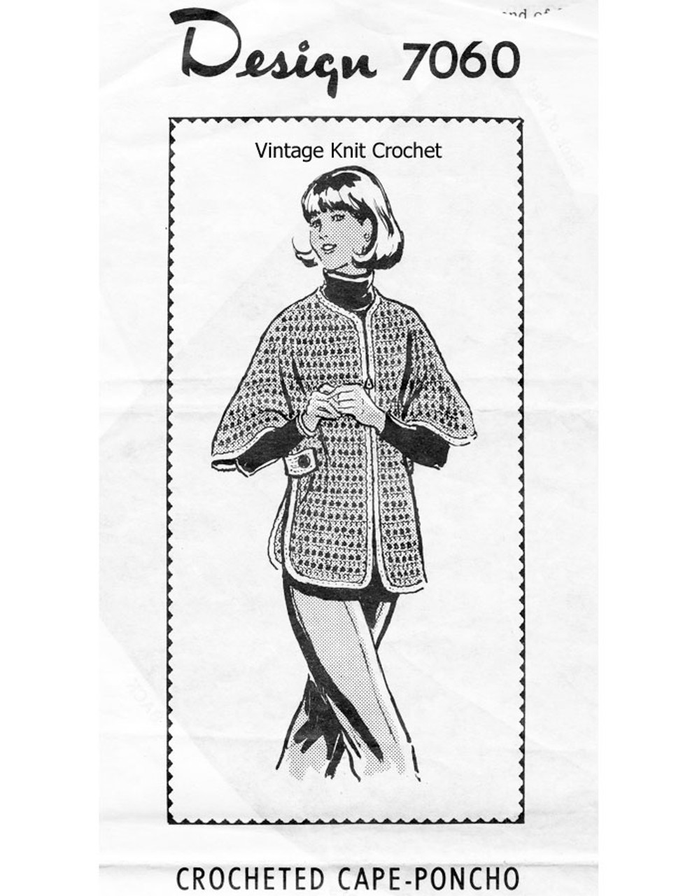 Crocheted Cape Pattern, Side Buttoned Design 7060