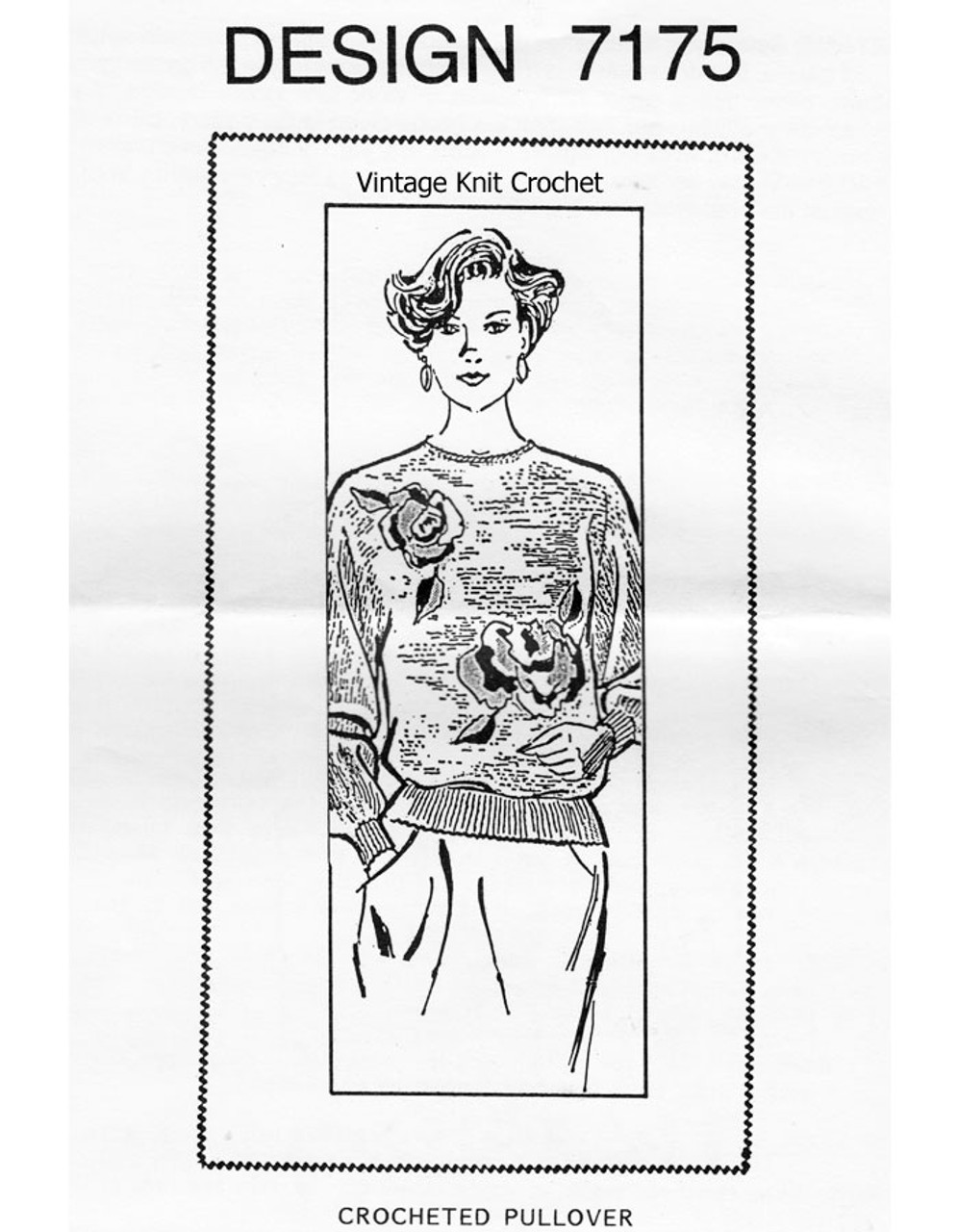 Crochet Pullover Pattern with Rose Applique Design 7175