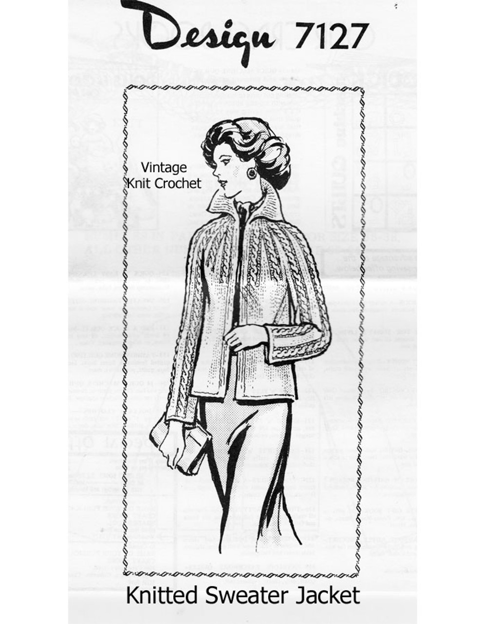 Cable Jacket Knitting Pattern, Mail Order Design 7127