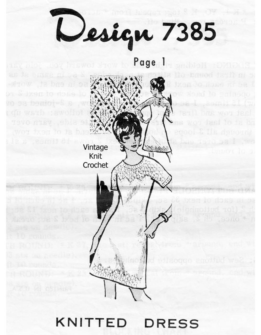 Knitted Diamond Yoke Dress Pattern Design 7385