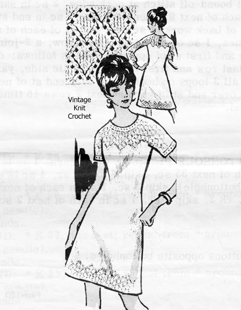Long Sleeve Dress Knitting Pattern with Diamond Trim Design 7385