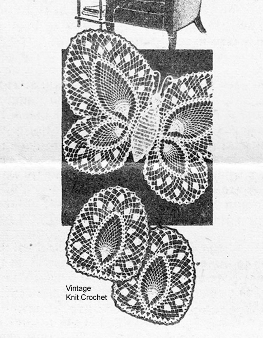 Butterfly Crochet Lace Chair Set Pattern No 7305
