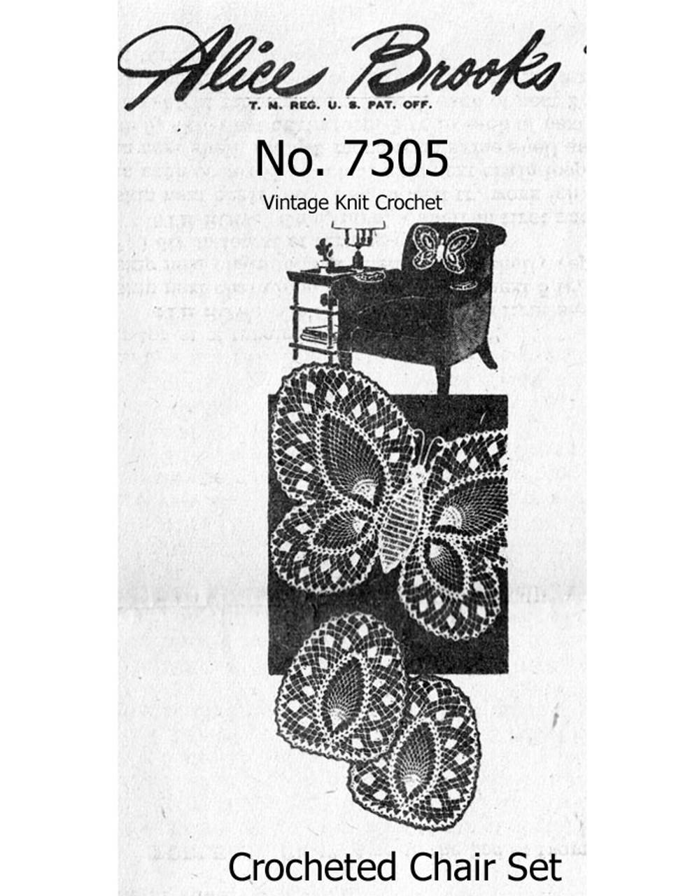 Vintage Butterfly Crochet Pattern, Lace Chair Set Design 7305