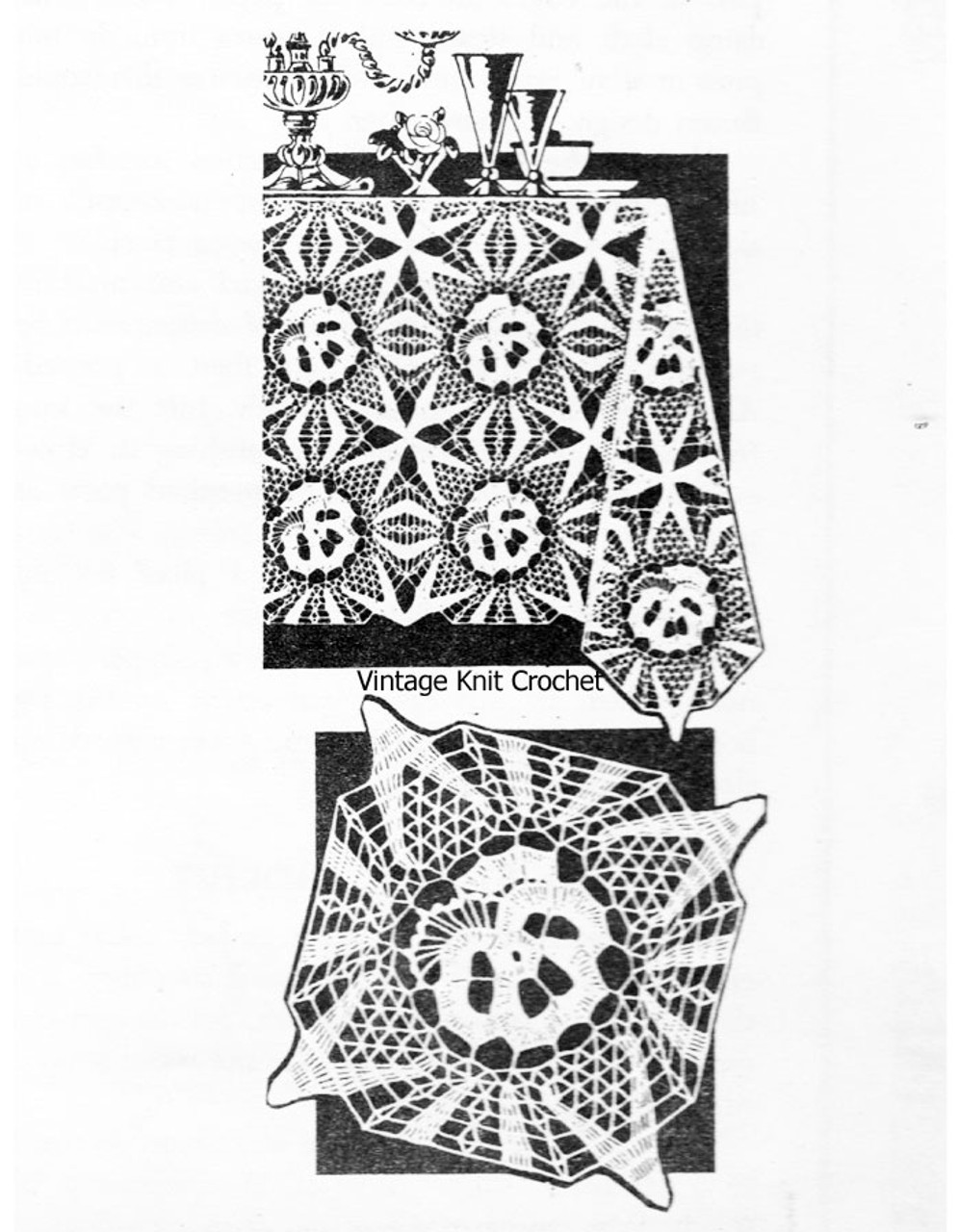 Vintage Pansy Square Crochet Pattern, Tablecloth No 3171
