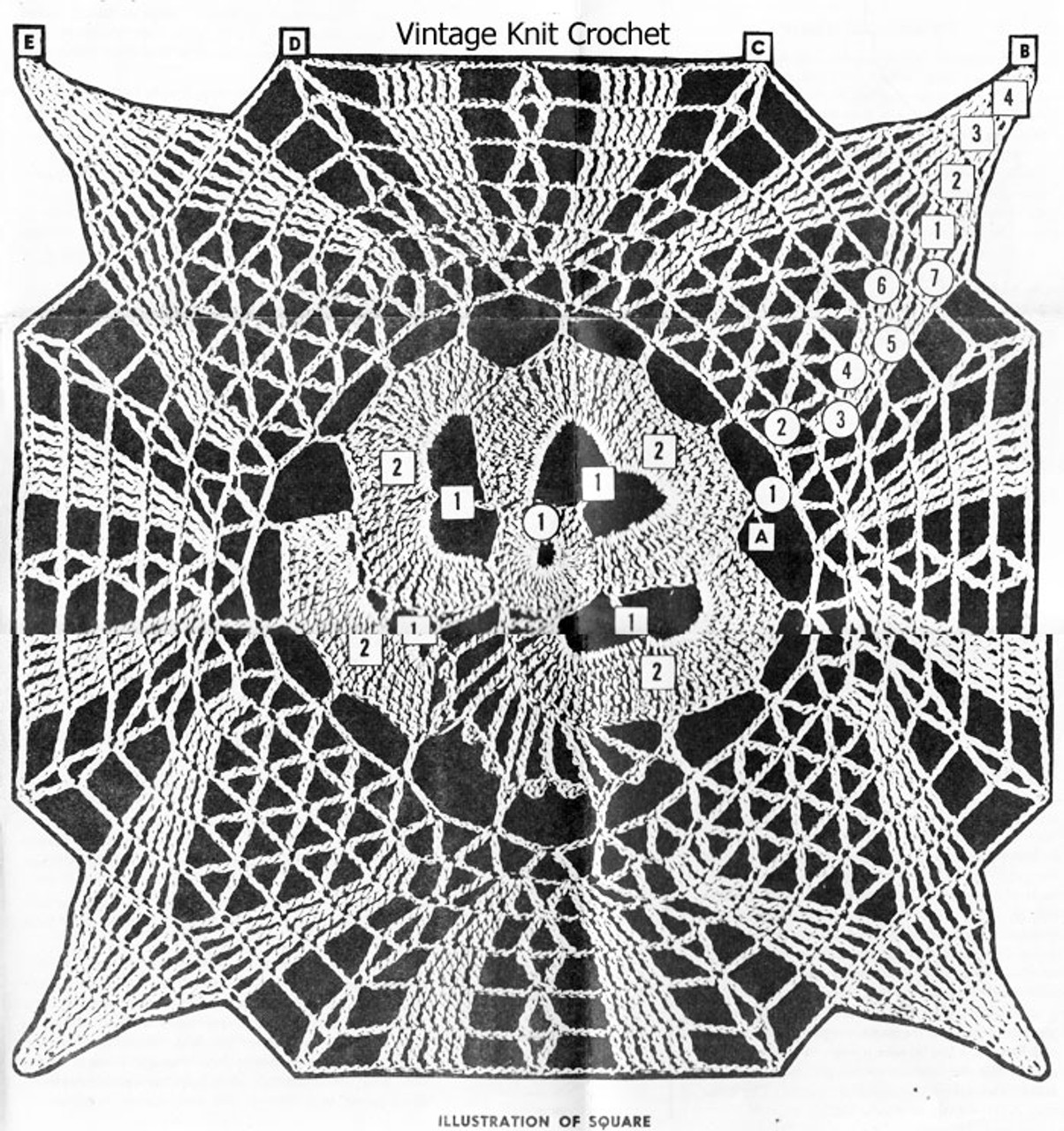 Pansy Square Crochet Pattern Detail, American Weekly 3171