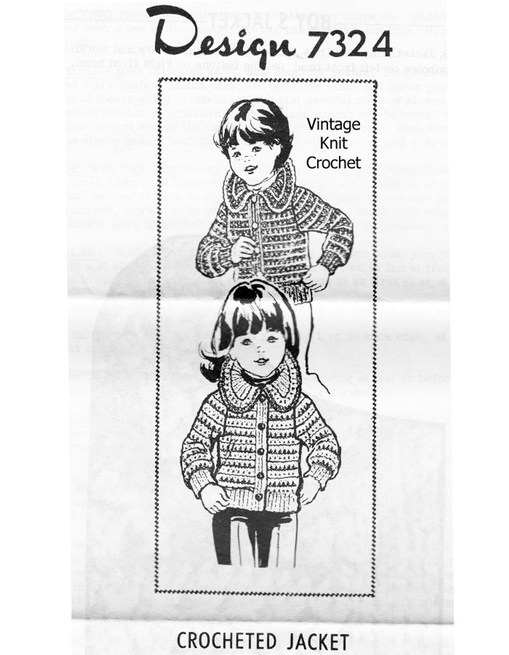 Girls Crochet Jacket Pattern, Round Collar Design 7324