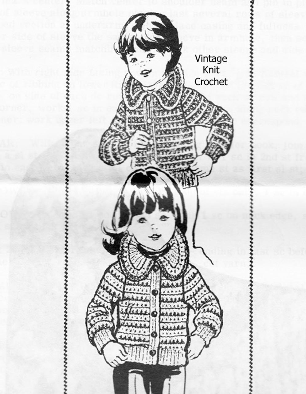 Childs Mail Order Crochet Jacket Pattern, Alice Brooks 7324