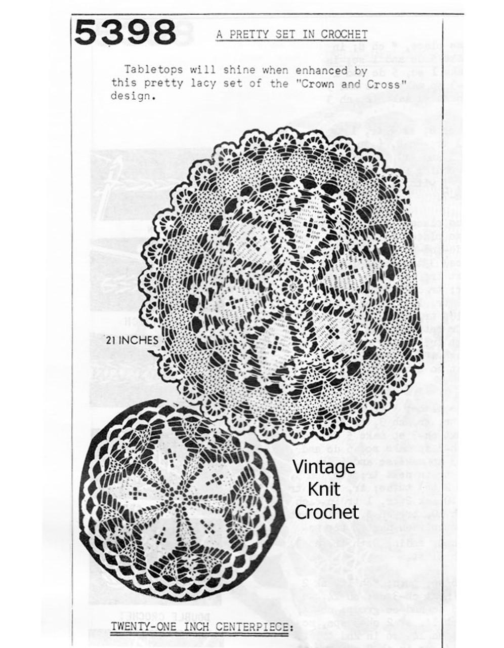 Vintage Centerpiece Crochet Doily Pattern, Cross & Crown No 5398