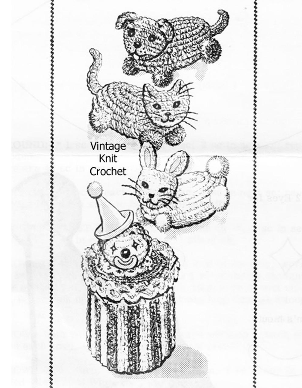Crochet Soap Sachets Pattern, Dog Cat Dog, Clown, Alice Brooks 7284