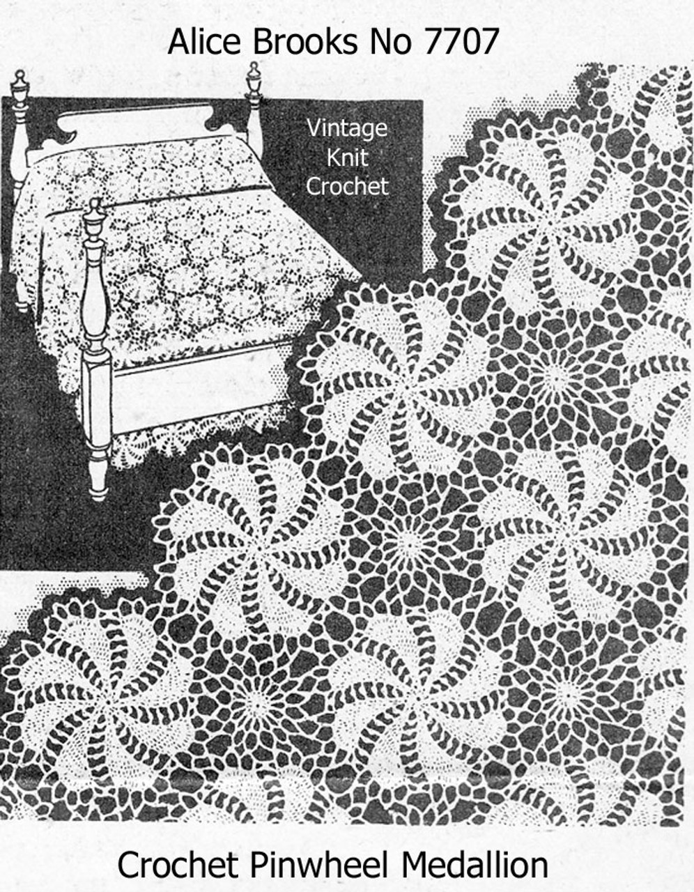 Crochet Bedspread Pattern, pinwheel medallions No 7707