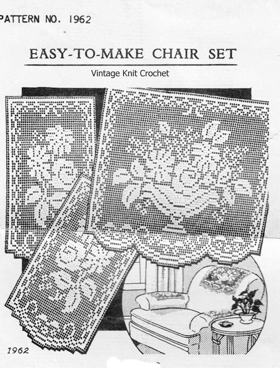 Vintage Filet Crochet Flower Urn Chair Set Pattern No 1962