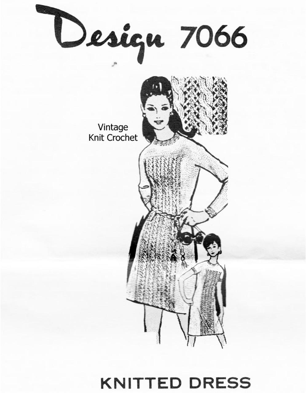 Long Sleeve Knitted Dress Pattern Design 7066