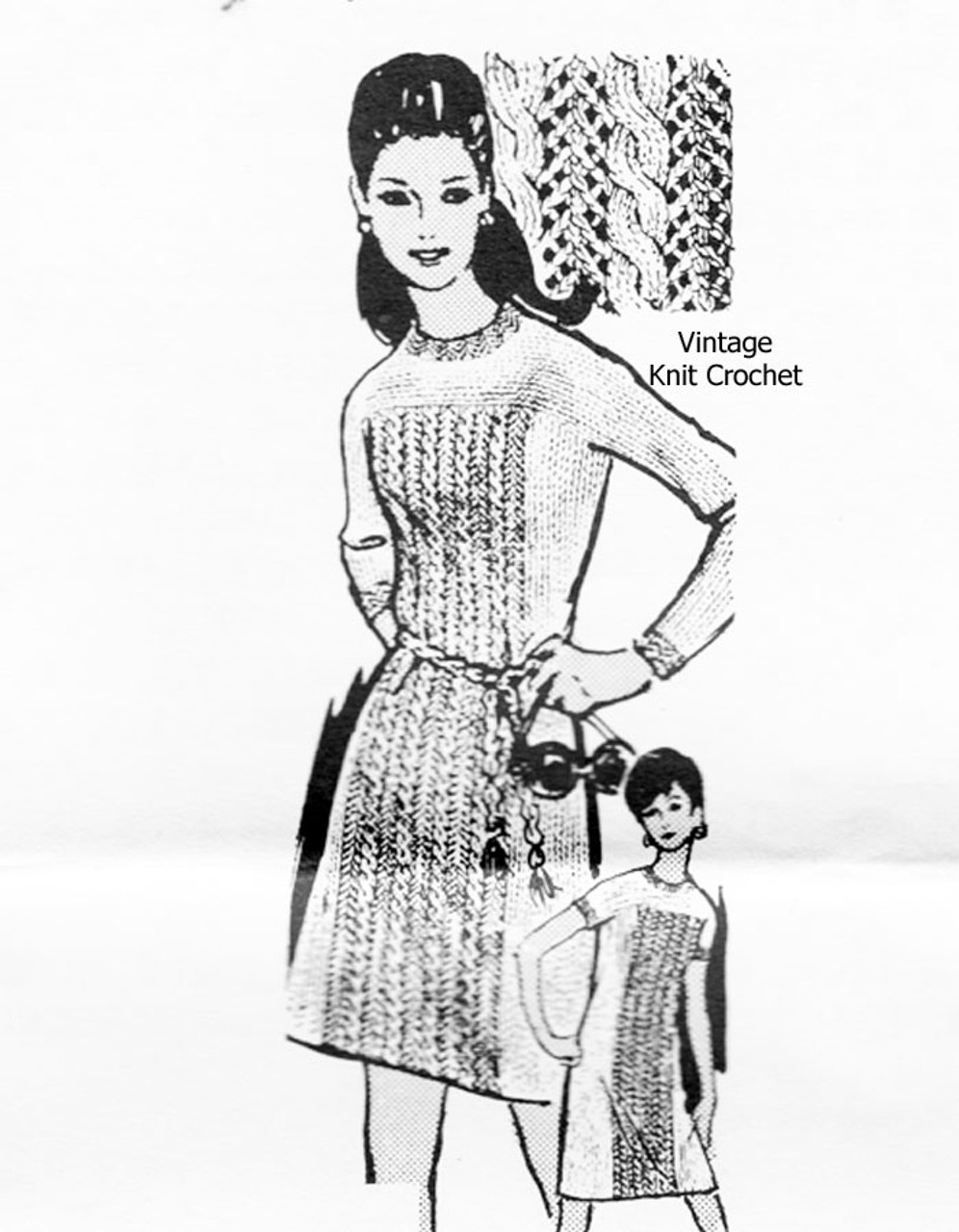 Mail Order Cable Dress Knitting Pattern, Alice Brooks 7066