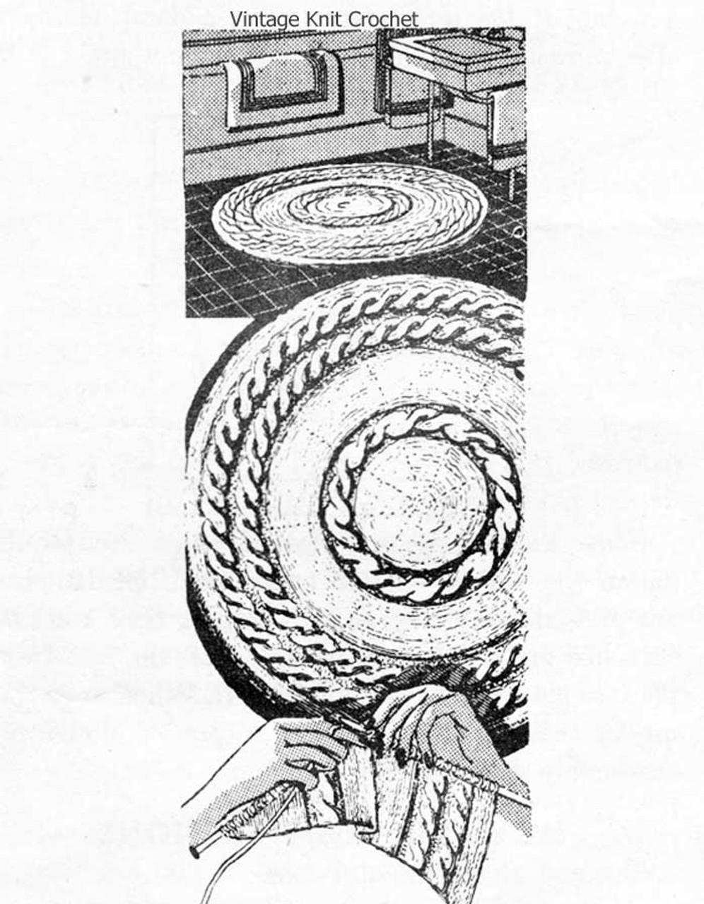Knitted Round Rag Rug Pattern, Design 7269