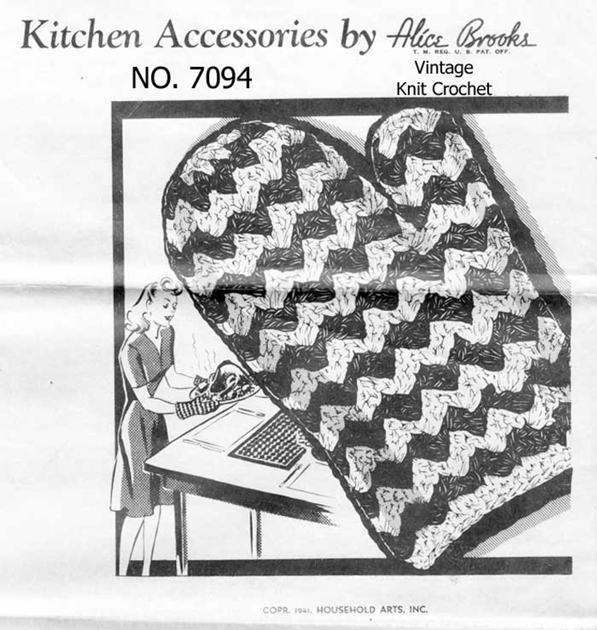 Vintage Crochet Hot Mitts and Matts Pattern