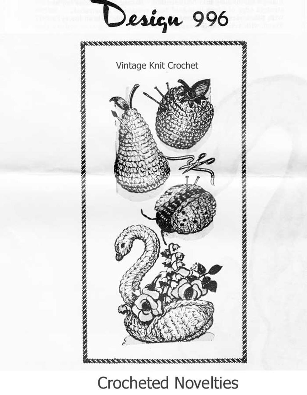 Easy Crochet Pincushions Pattern, Apple, Pear, Ladybug Design 996
