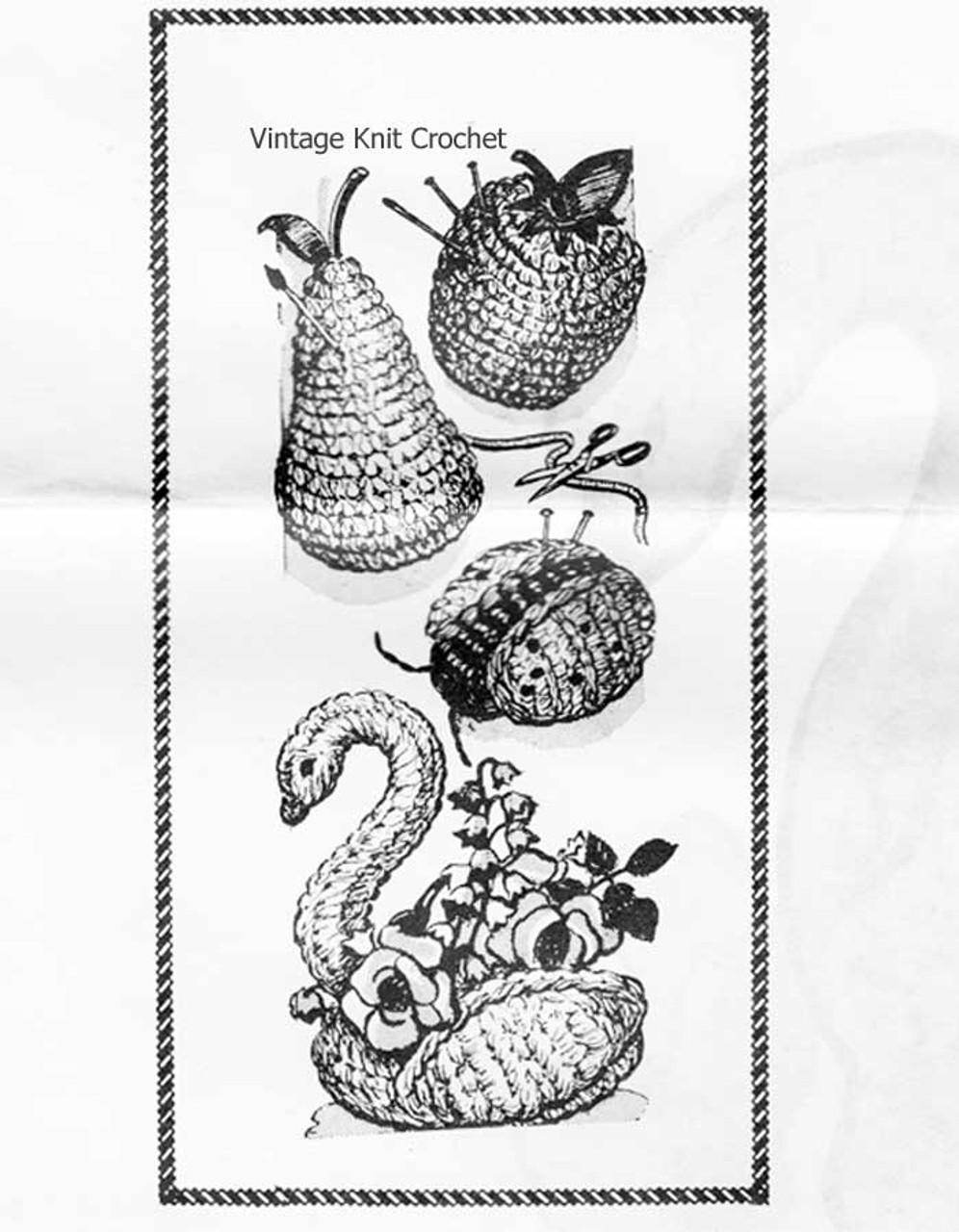 Pear Apple Ladybug Swan crochet pincushions pattern, Laura Wheeler 996