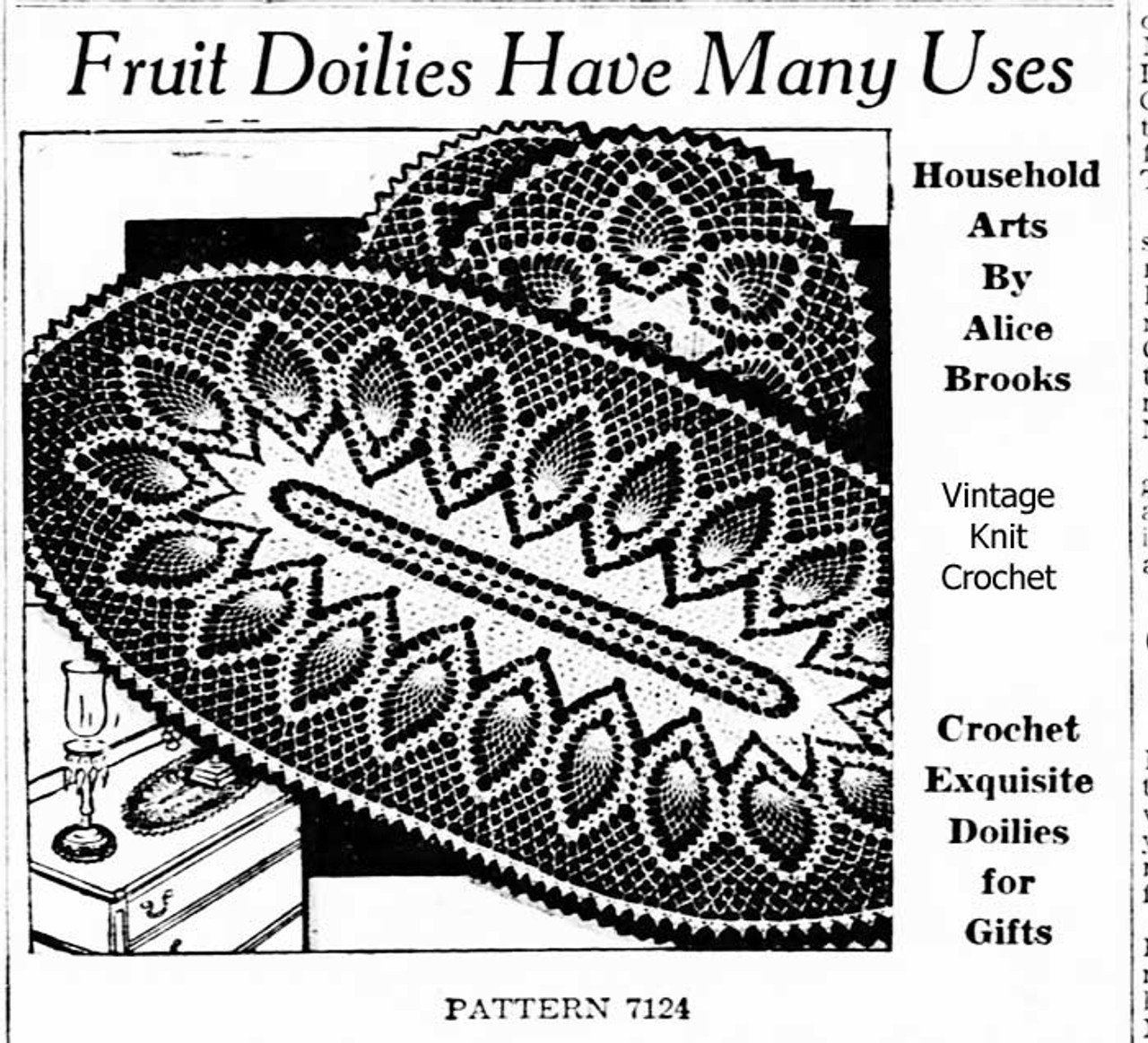 Crochet Oval Pineapple Doily or Scarf Pattern, Alice Brooks 7124