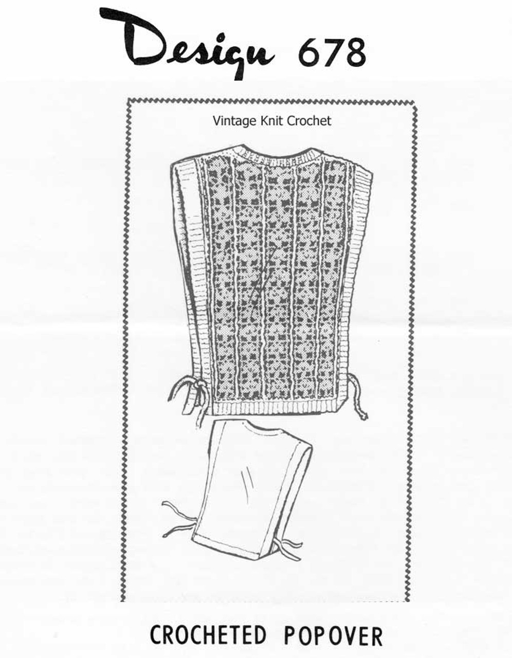 Crochet tabard pattern with tie sides, Design 678