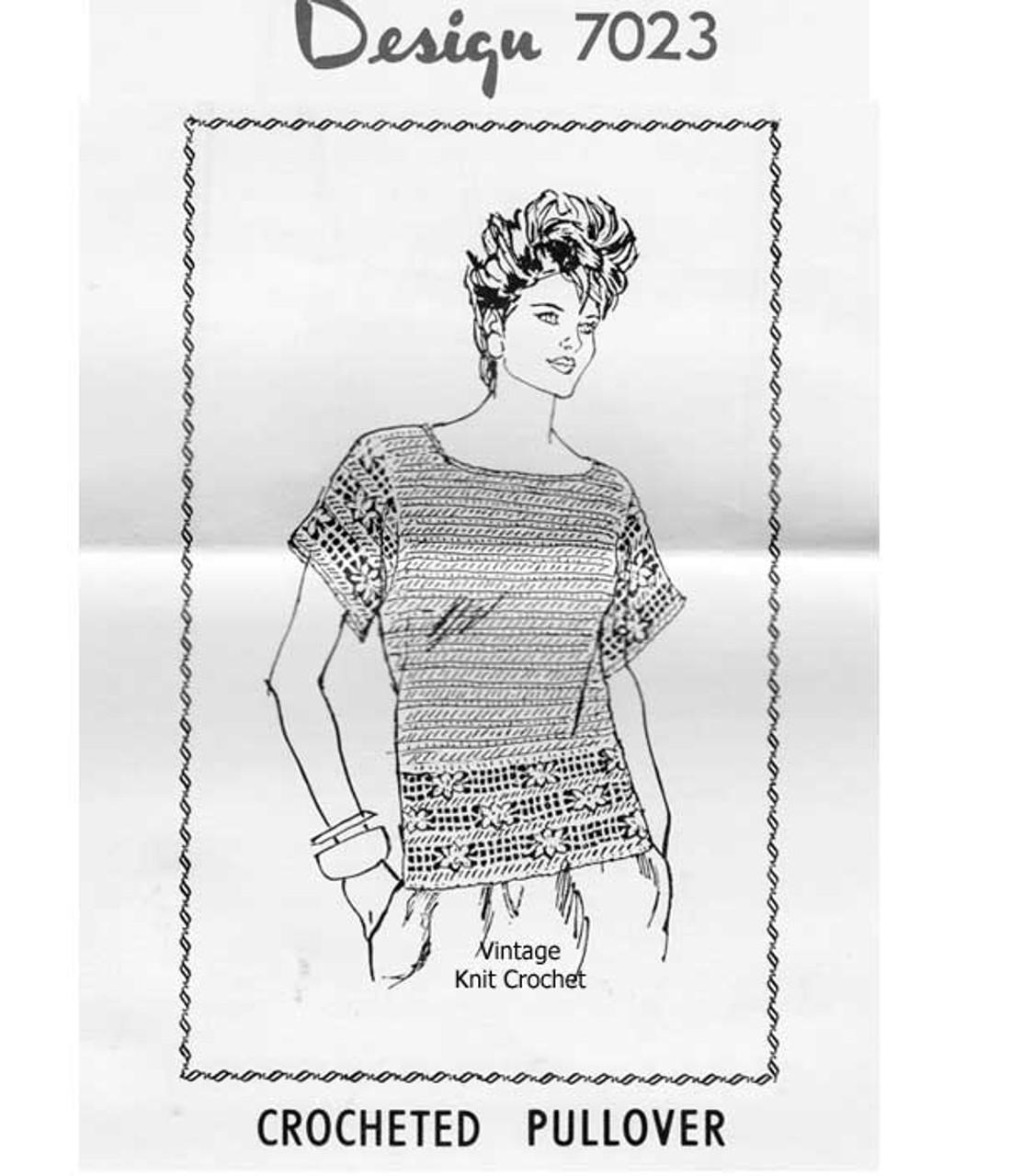 Short Sleeve Crochet Top Pattern, Mail Order Design 7023