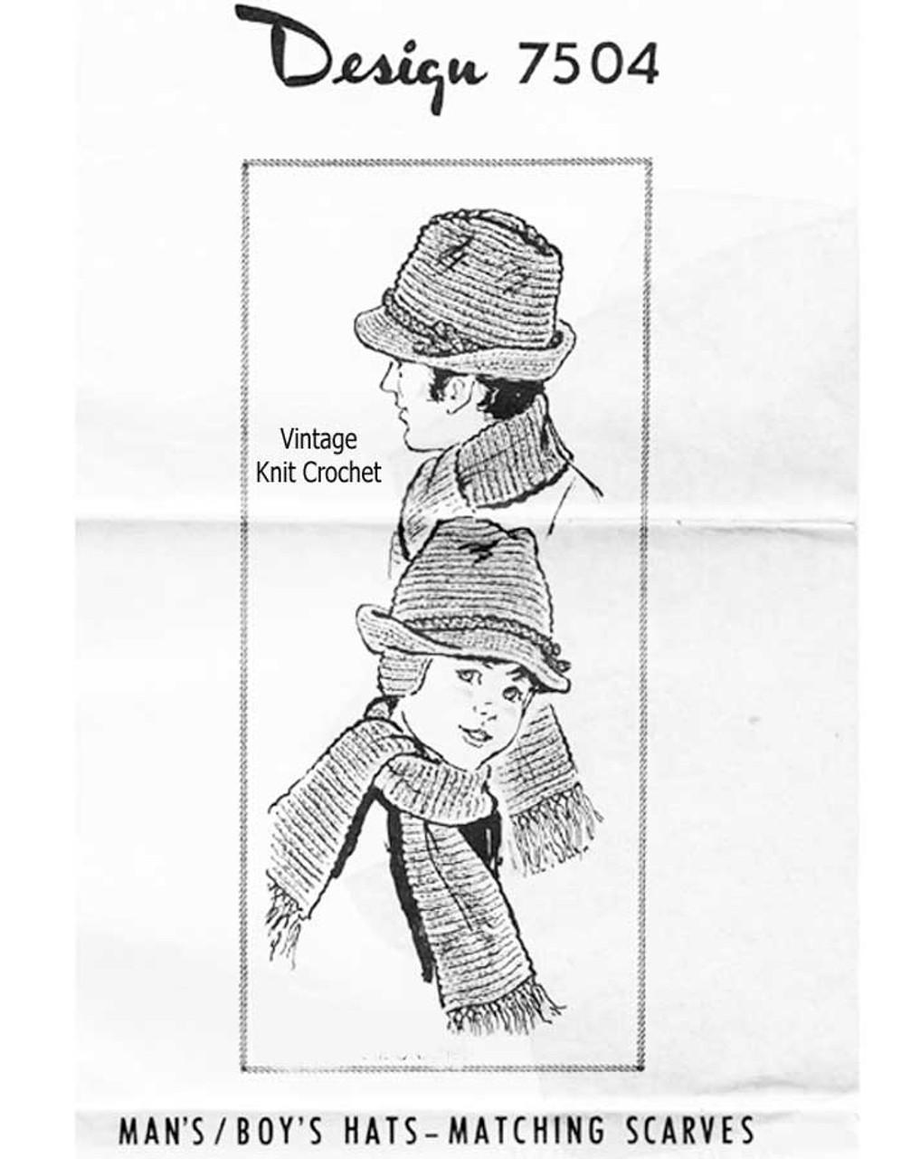 Mans Brimmed Crochet Hat Pattern, Design 7504
