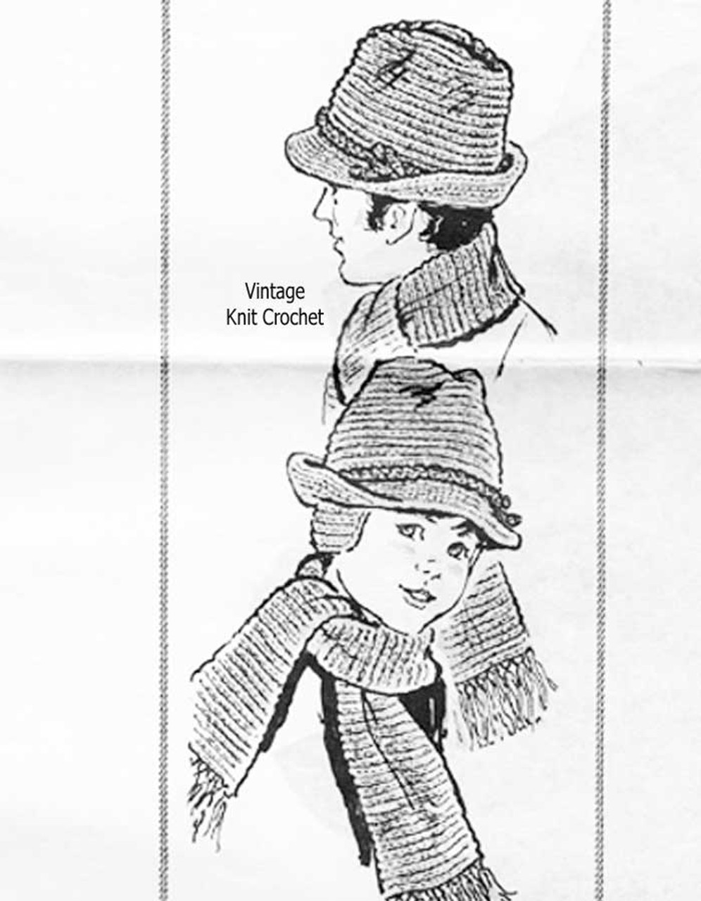 Father Son Crochet Brimmed Hats Pattern, Mail Order Design 7504