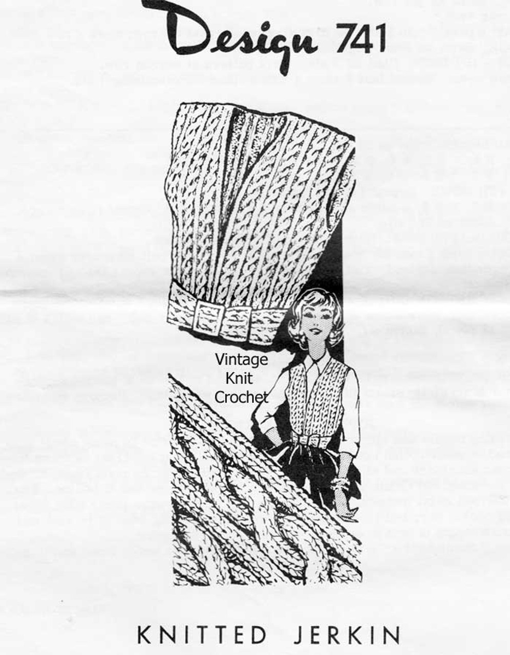 Knitted Cable Vest Pattern, Mail Order Design 741