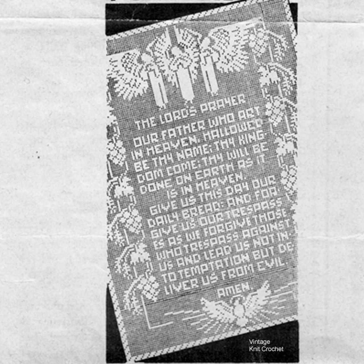 Vintage Lords Prayer Panel in Filet Crochet, Laura Wheeler 570