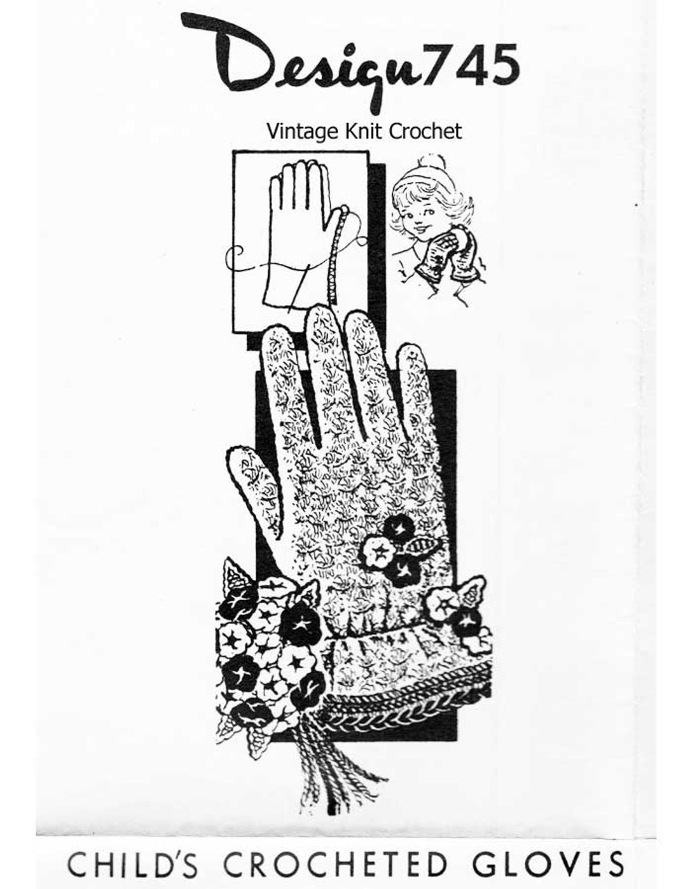 Girls Vintage Crochet Gloves Pattern, Flower Trimmed, Mail Order Design 745