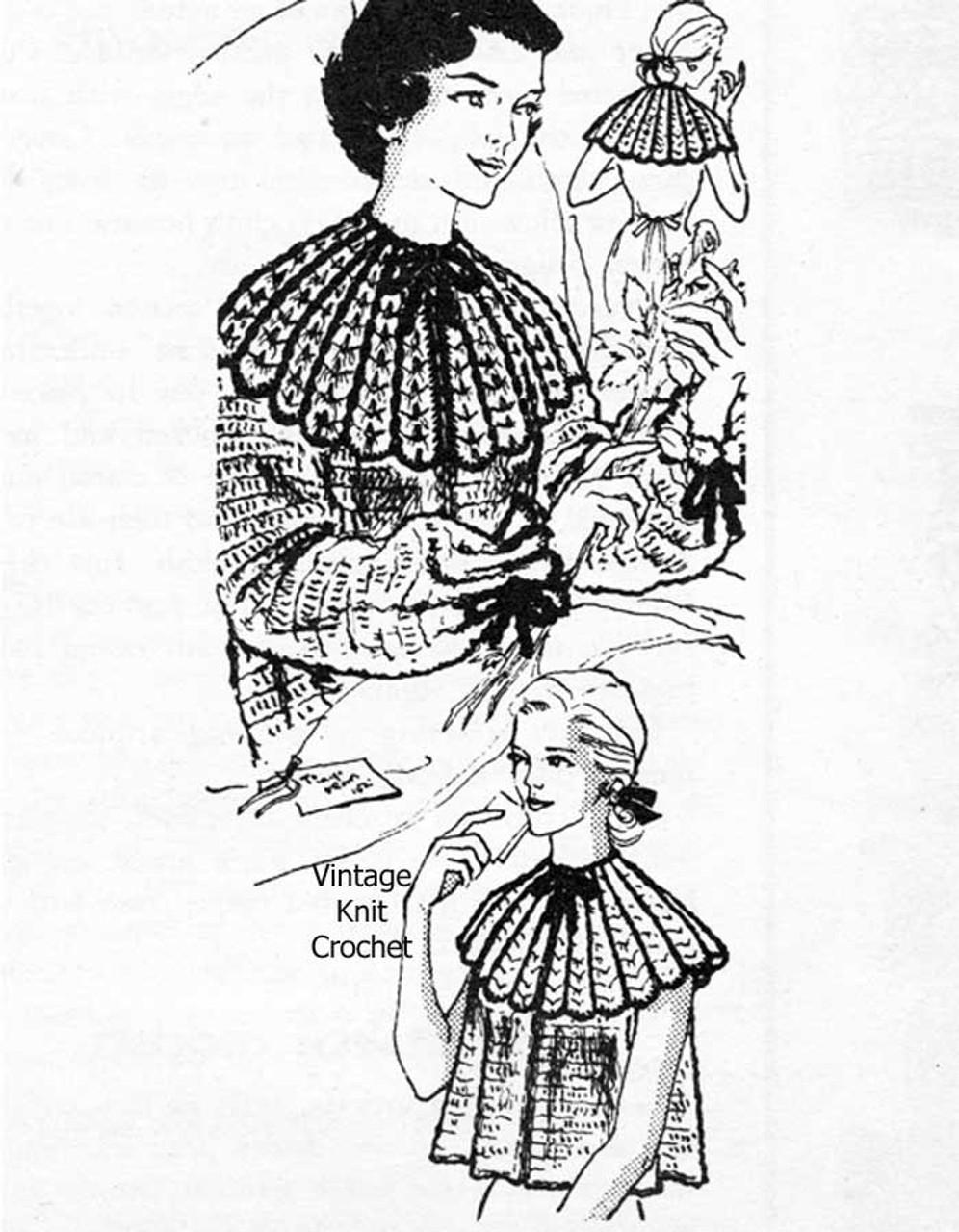 Vintage crochet capelet, Bed Jacket Pattern Mail Order Design 777