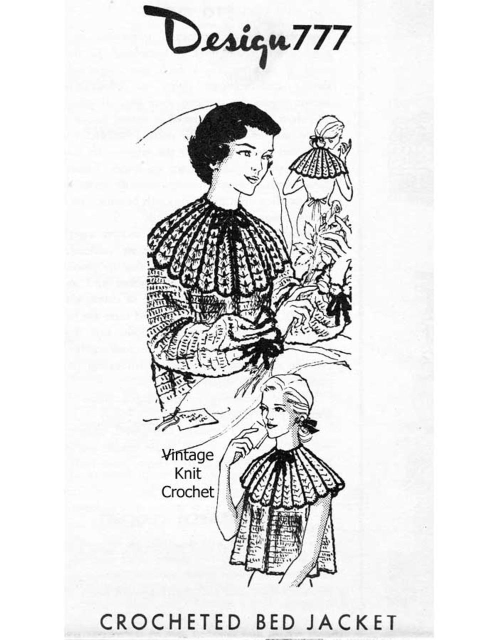 Crochet  Bed Jacket Capelet Pattern, Laura Wheeler 777