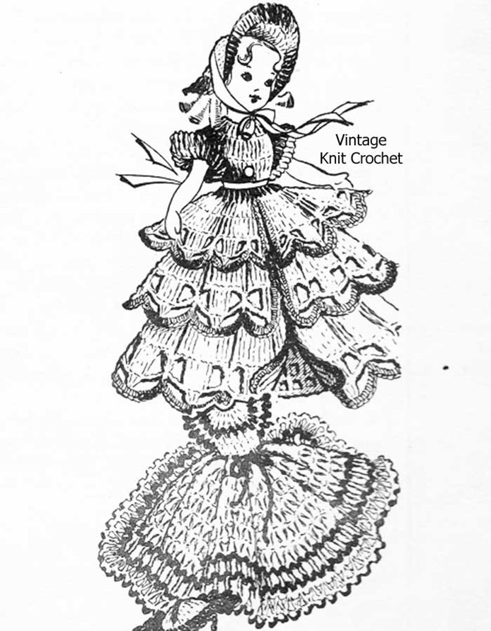 Vintage crocheted 8 inch doll dress pattern, southern belle design 856