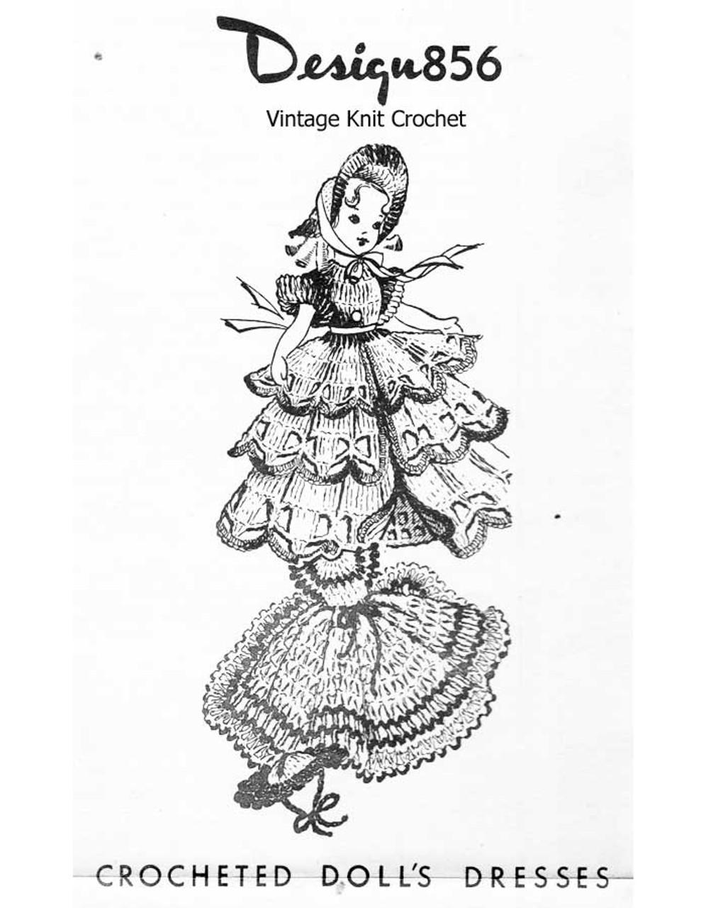 Crochet Ruffled 8 Inch Doll Dress Pattern, Laura Wheeler 856