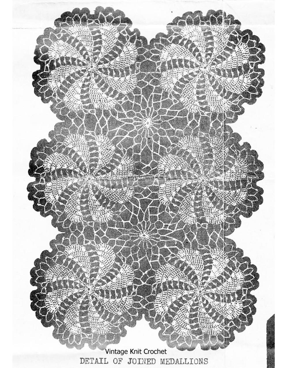 Crochet Tablecloth Medallion Pinwheel Pattern Design 7707