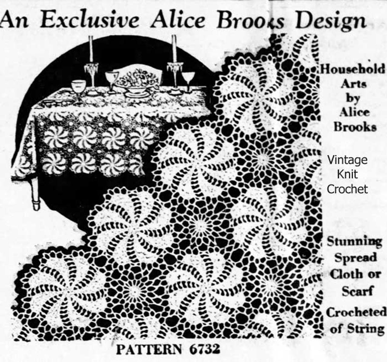 Vintage Pinwheel Crochet Medallion Pattern, Alice Brooks 6732