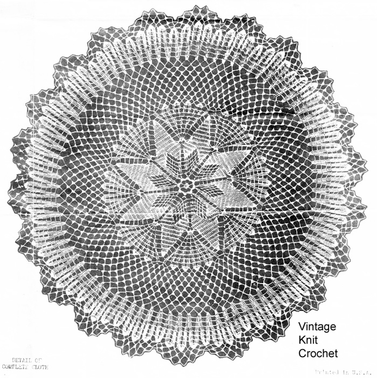 Star Cloth Pattern, Vintage Crochet Pattern Design 6509