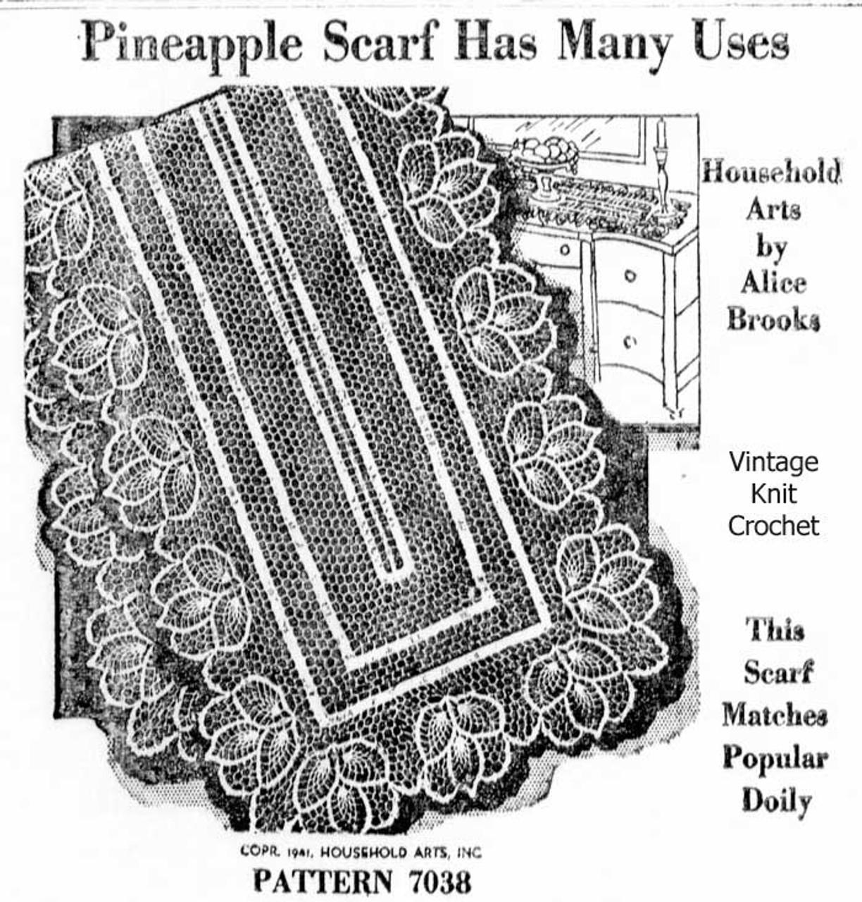 Vintage Crochet Runner Pattern, 3 sizes, Alice Brooks 7038