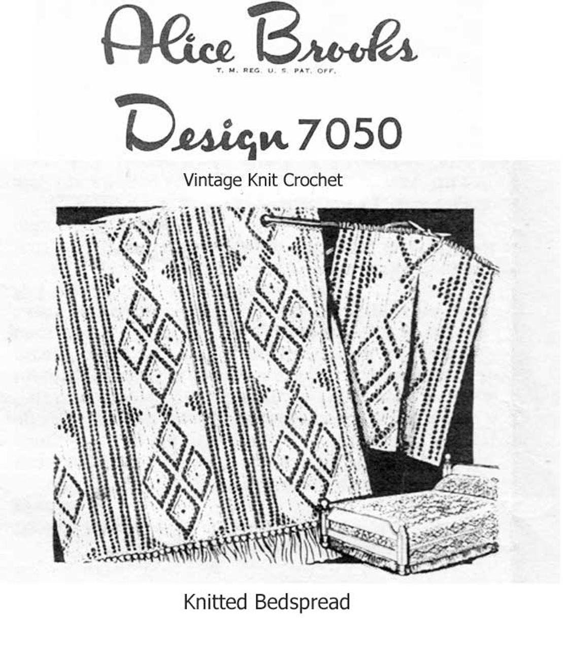 Vintage Knitted Bedspread Pattern, Diamond Panel, Alice Brooks 7050