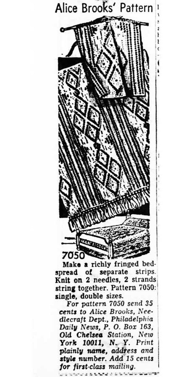 Alice Brooks 7050 Knitted Afghan Newspaper Advertisement