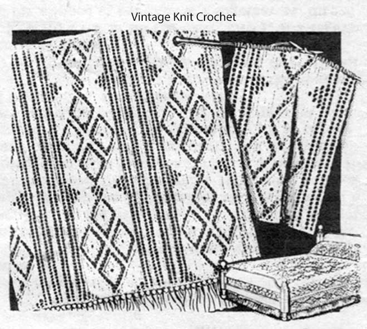 Diamond Bedspread Knitting Pattern Design 7050